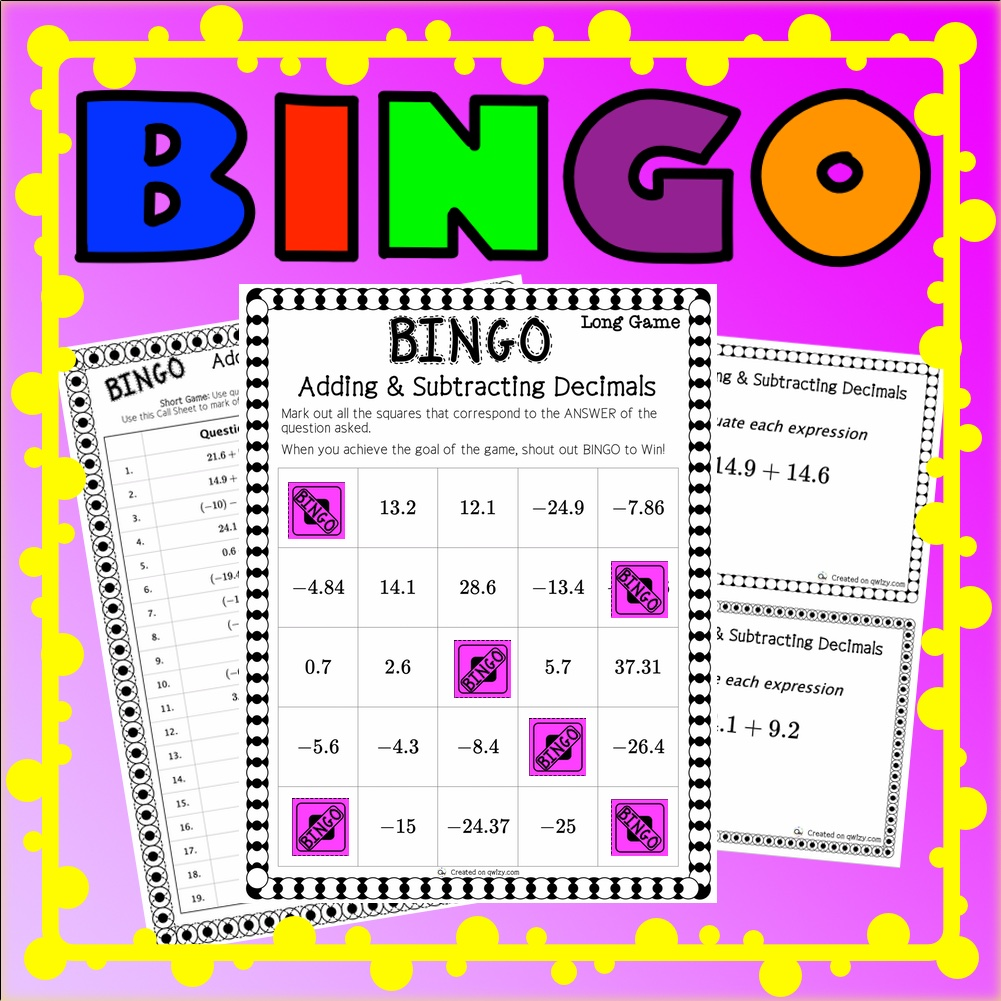 Add and Subtract Decimals BINGO