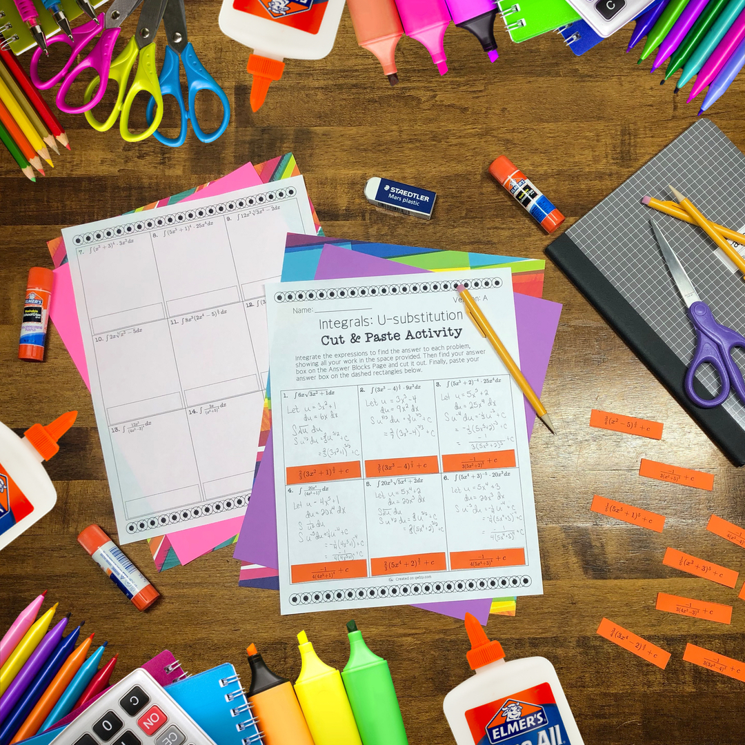 Cut & Paste Activities from Elementary Math to AP Calculus