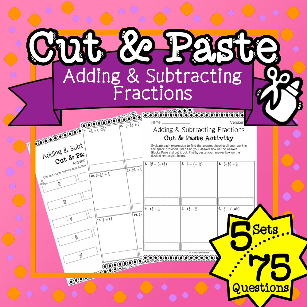Adding and Subtracting Fractions Cut & Paste Activity