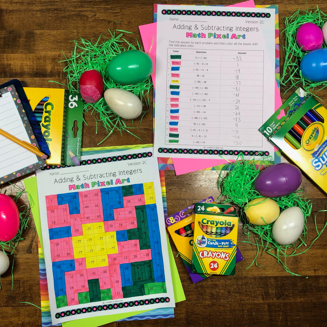 Easter: Adding & Subtracting Integers #2 Pixel Art Distance Learning Compatible