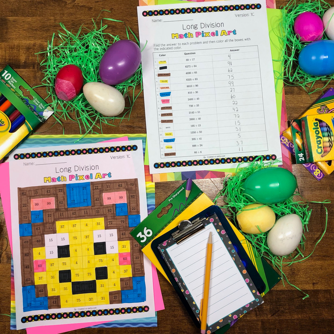 Easter: Long Division Pixel Art - Distance Learning Compatible