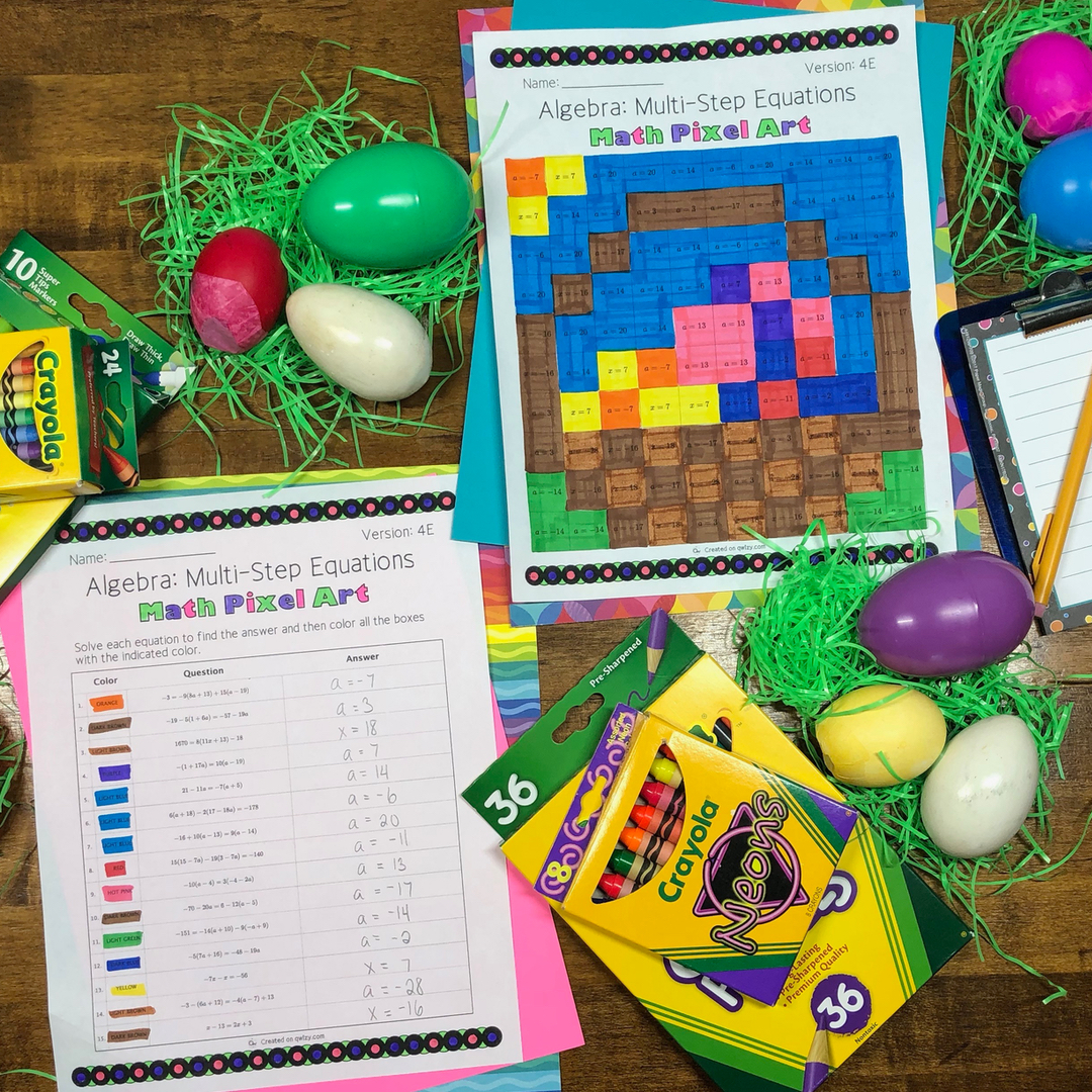 Easter: Algebra Multi-Step Equations Pixel Art - Distance Learning Compatible