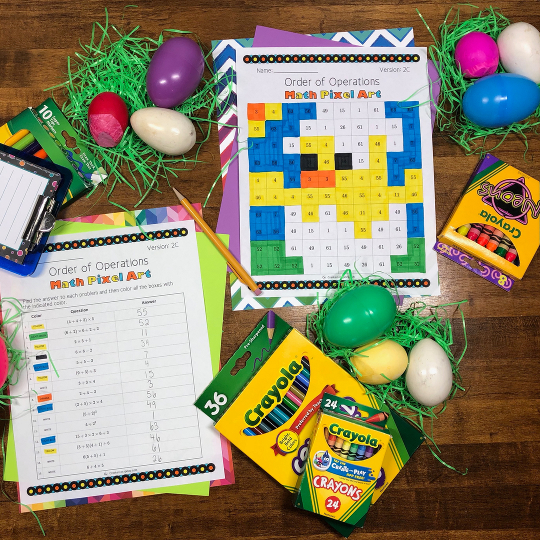 Easter: Order of Operations Pixel Art - Distance Learning Compatible