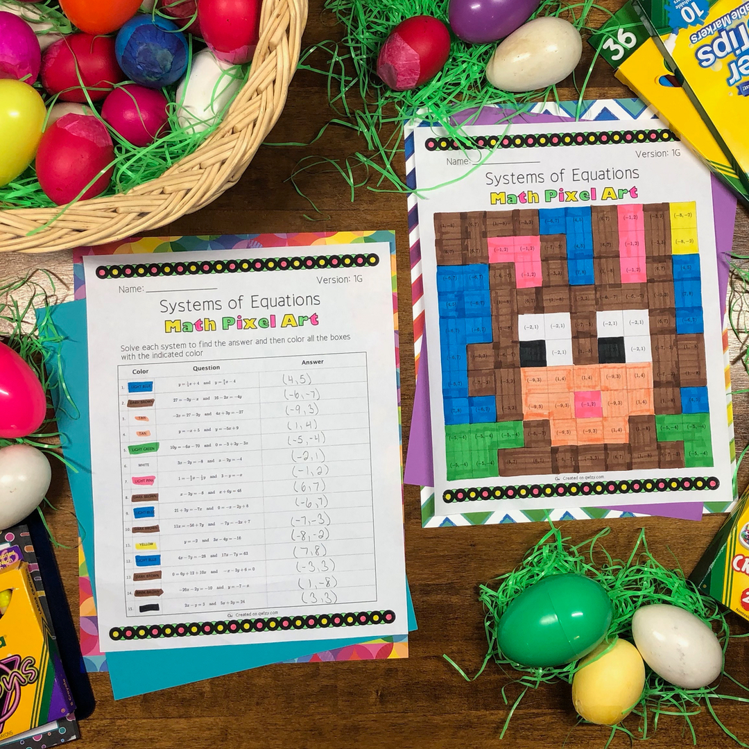 Easter: Systems of Equations Pixel Art - Distance Learning Compatible