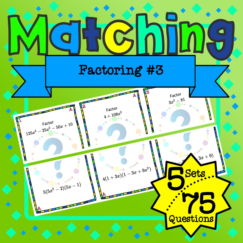 Factoring #3 Matching Game