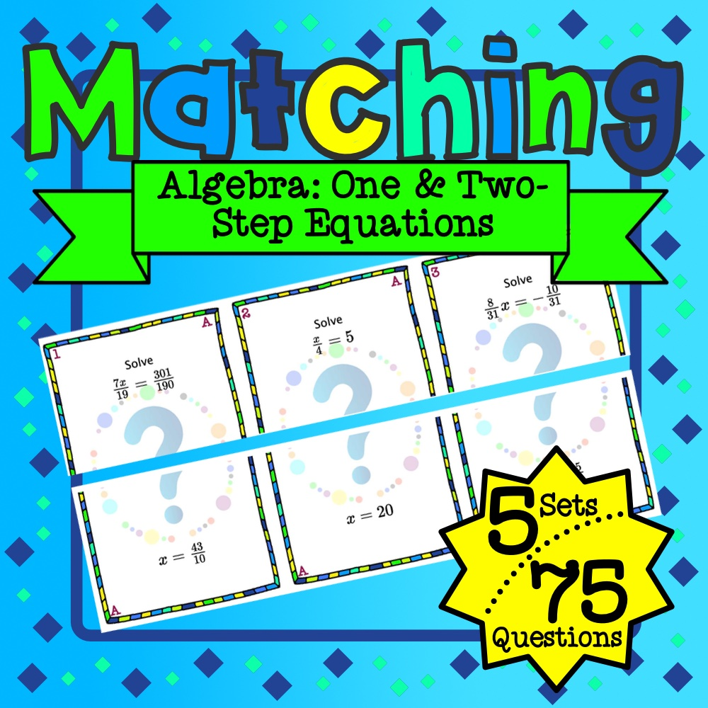 One & Two-Step Equations Matching Game