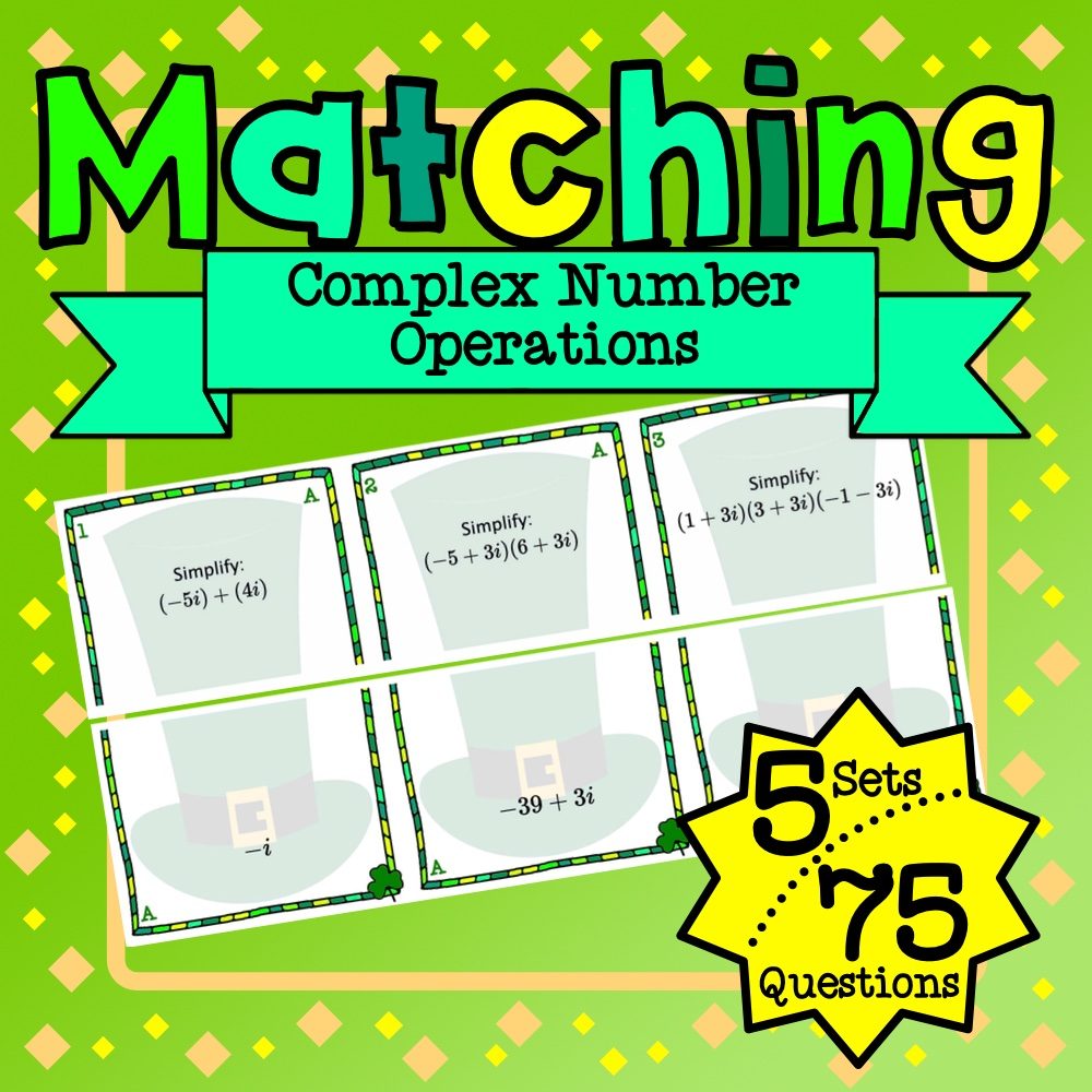 St. Patrick's Day: Complex Number Operations Matching Game