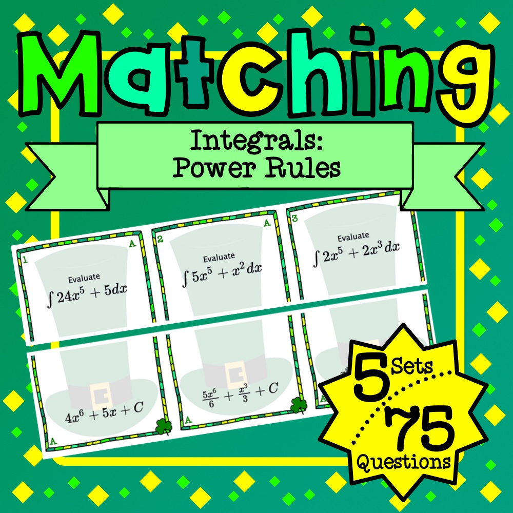 St. Patrick's Day: Integrals Power Rule Matching Game