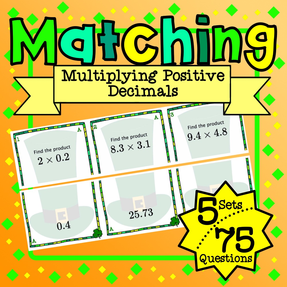 St. Patrick's Day: Multiplying Decimals Matching Game
