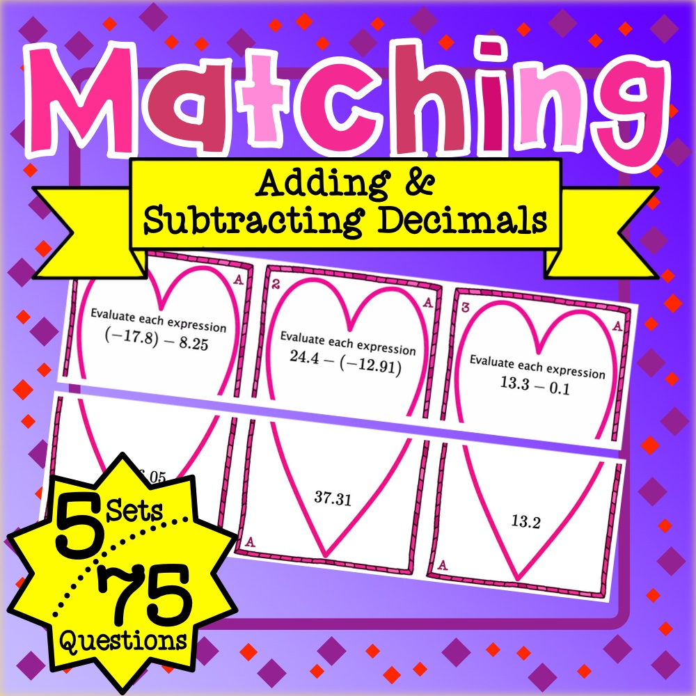 Adding and Subtracting Decimals Matching Game