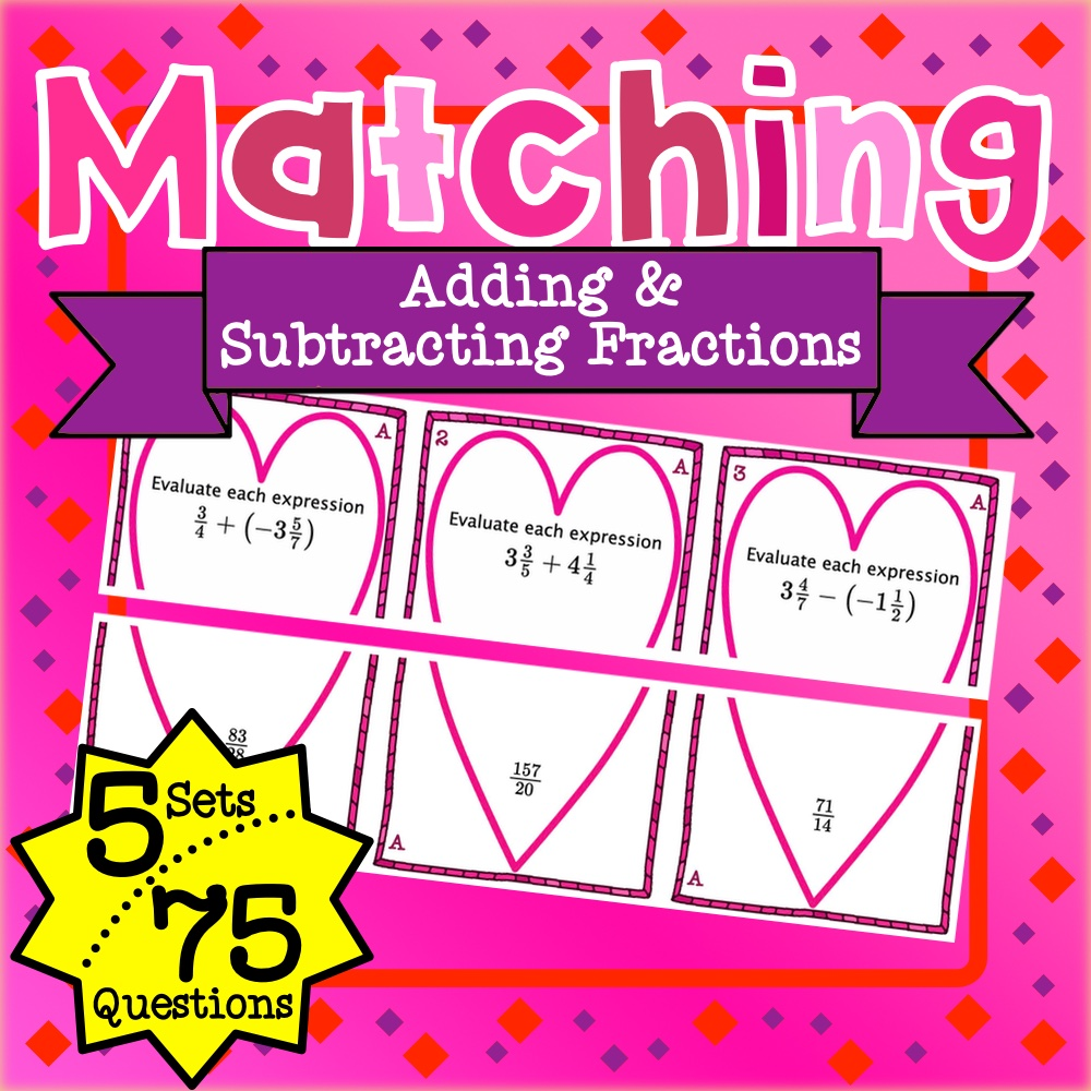 Adding and Subtracting Fractions Matching Game