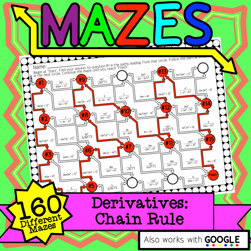 Calculus Derivatives: Chain Rule Maze Activity Sets - Distance Learning Compat.