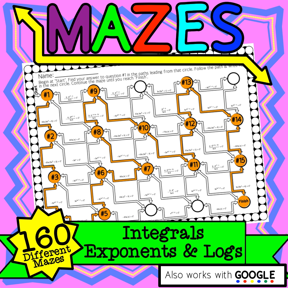 Calculus Integrals: Exponents & Logs Maze Activity Set Distance Learning Compat.