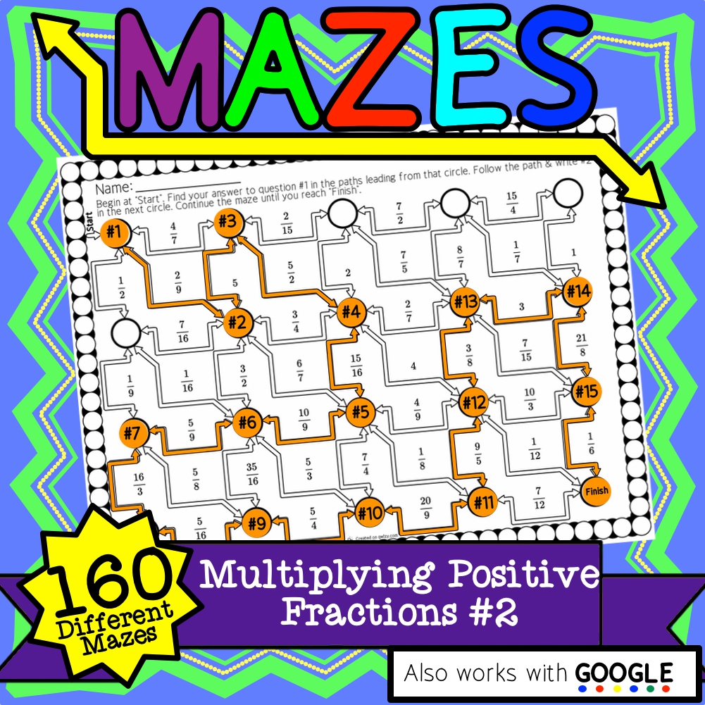 Multiplying Fractions #2 Maze Activity Sets - Distance Learning Compatible