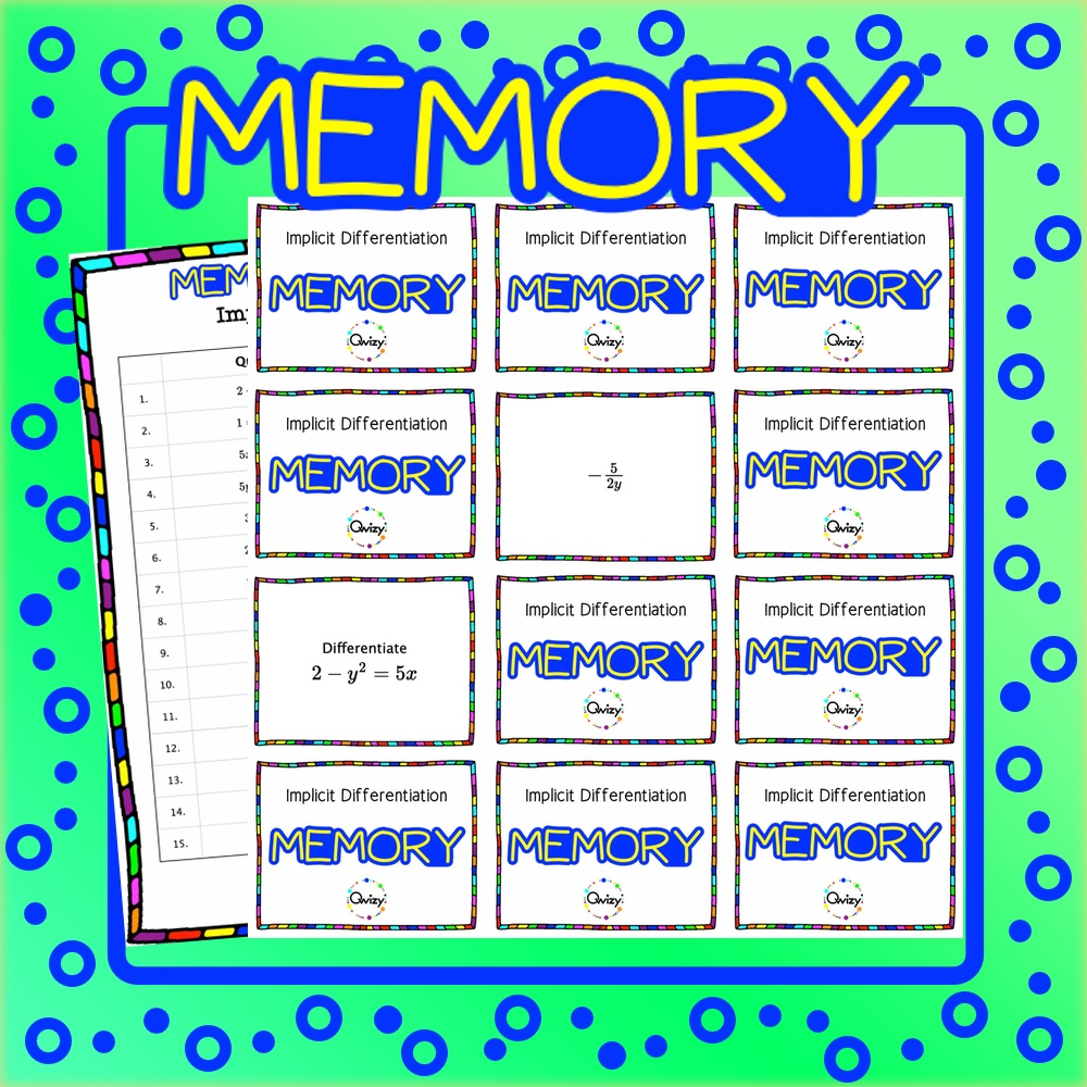 Implicit Differentiation Math Memory Game