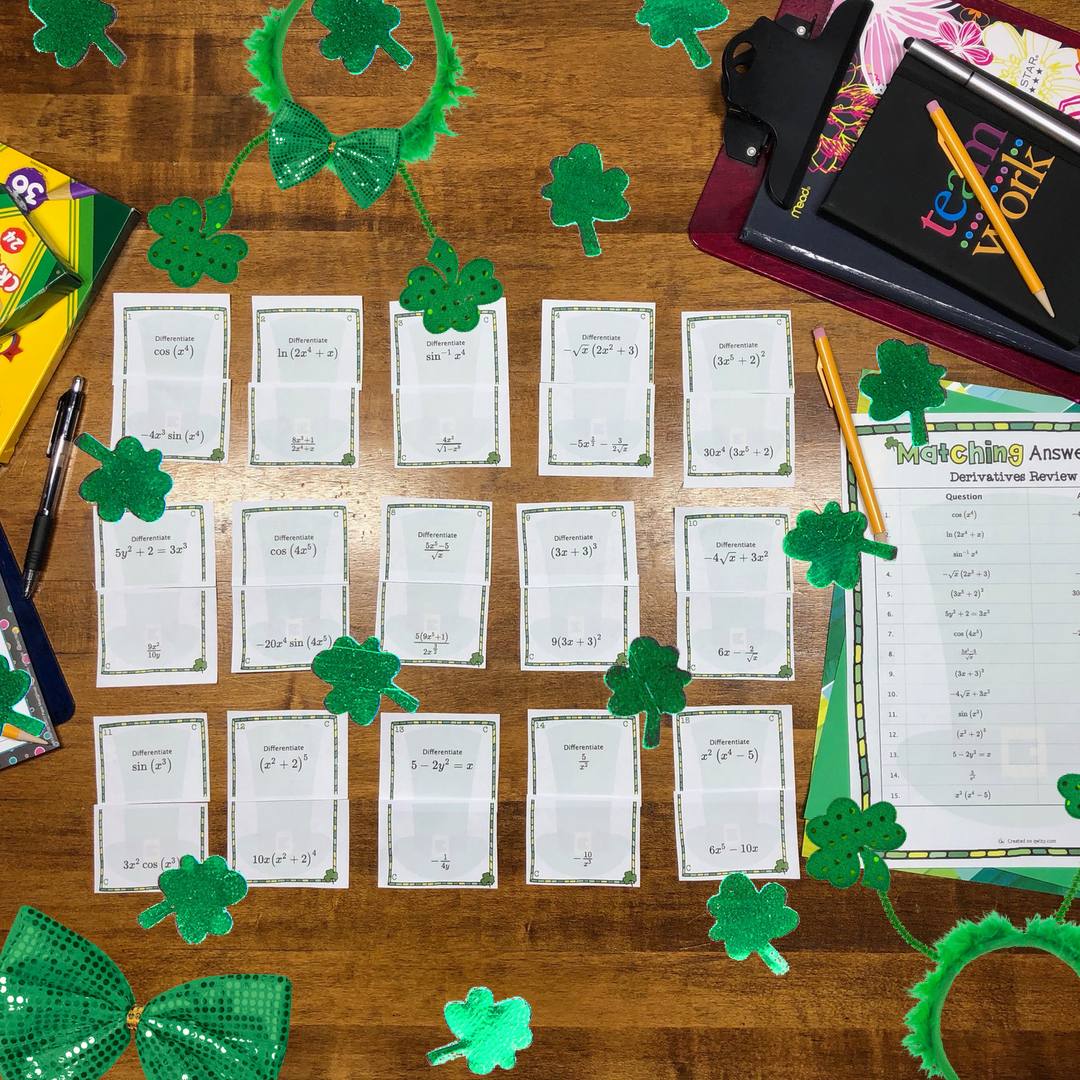 Math Matching Games for St. Patrick's Day