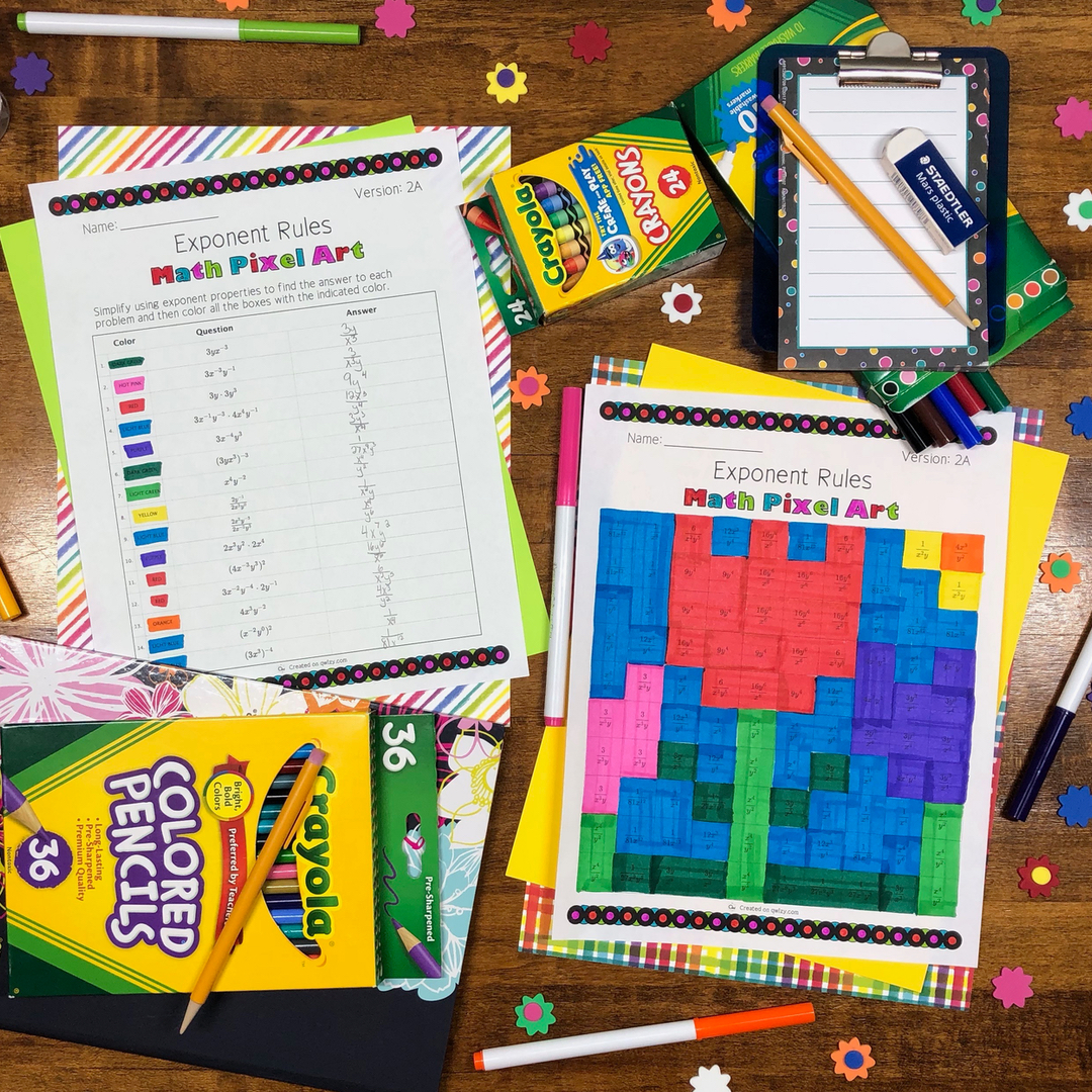 Spring: Algebra Exponent Rules Pixel Art - Distance Learning Compatible