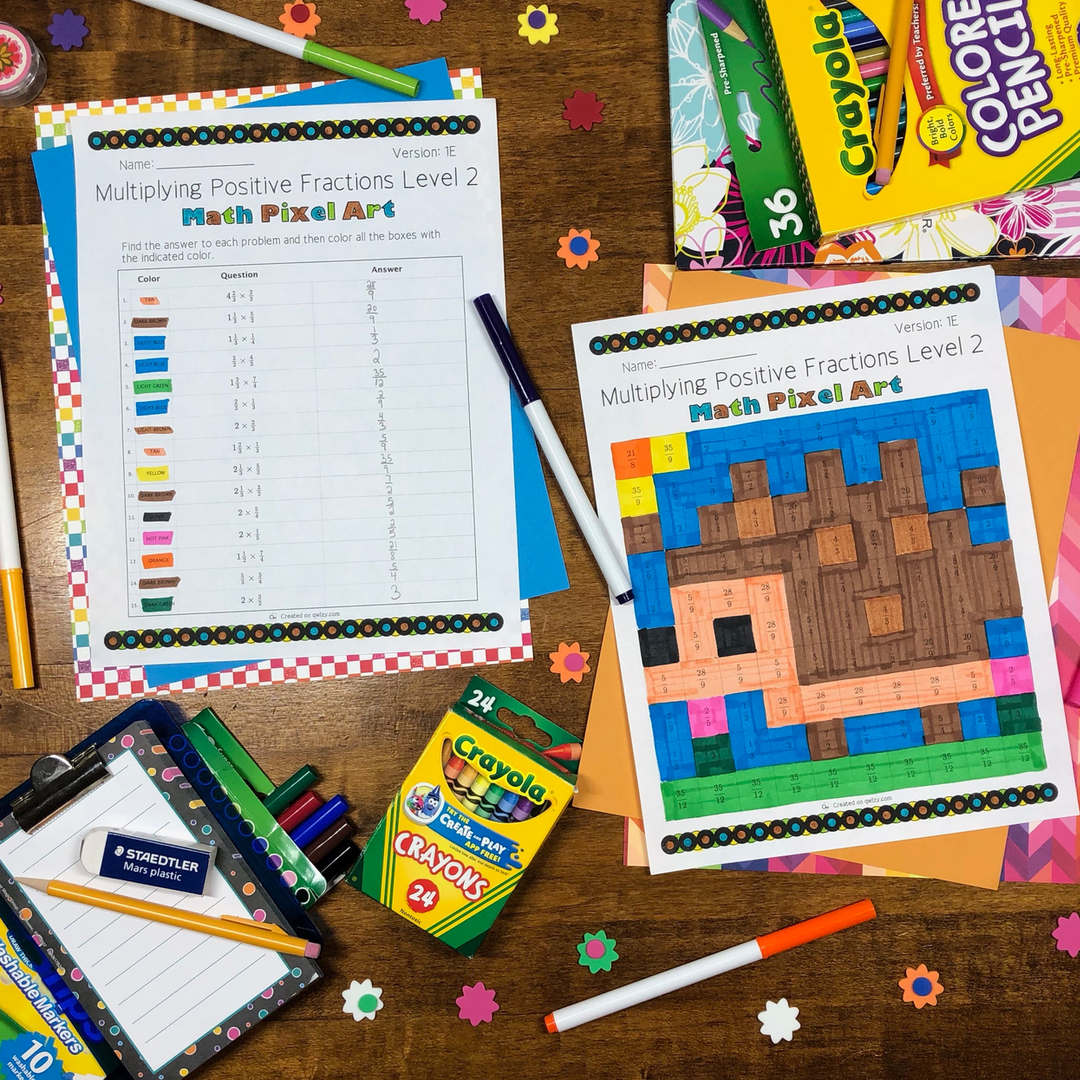 Spring: Multiplying Fractions #2 Pixel Art - Distance Learning Compatible
