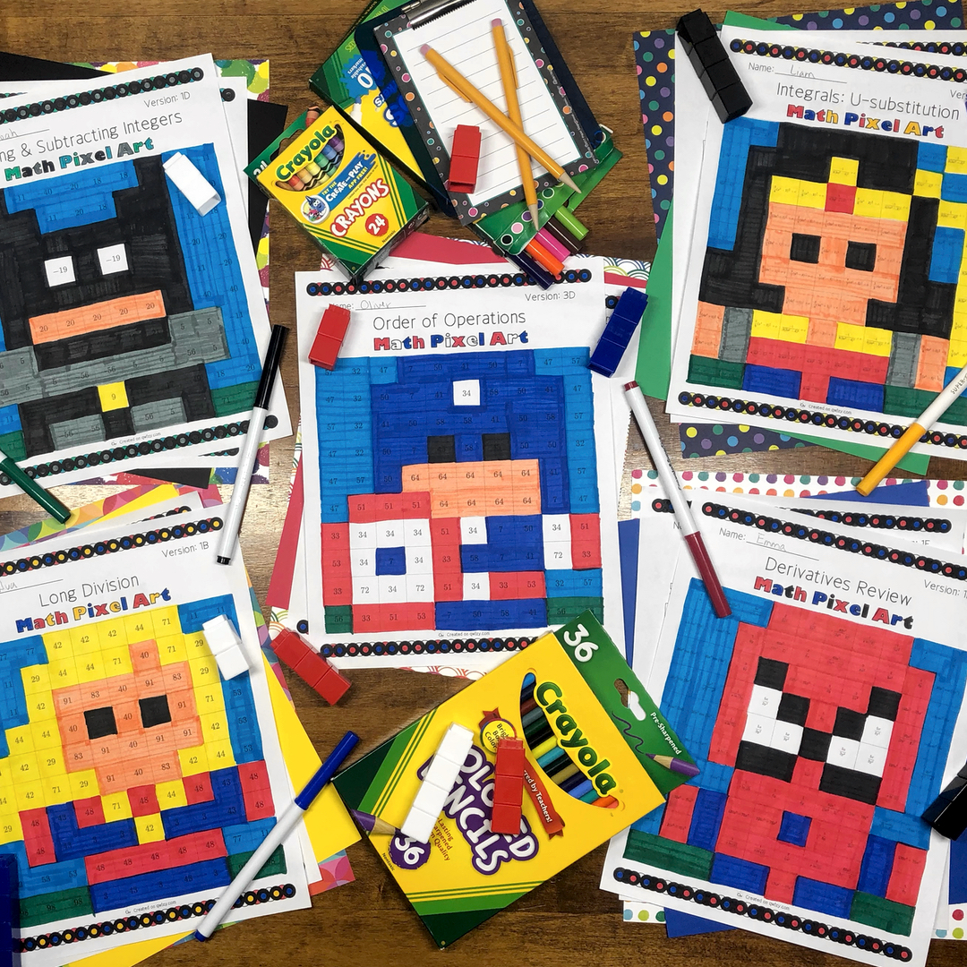 Super Hero Pixel Arts - Distance Learning Compatible